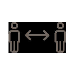 Pictogramme de deux individus qui se tiennent à distance