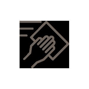 Pictogramme d'une main qui passe une lingette désinfectante